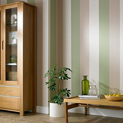 Graham & Brown 20-546 1 Fabric Collection Java Stripe Wallpaper, Spring Green