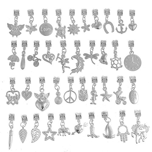 RUBYCA 120Pcs Tibetan White Silver Plated Metal Connector Bails Mix Bead Pendant Charm Bracelet 201