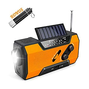Emergency Solar Crank Radio, AM/FM/NOAA Weather Radio with Flashlight,2000 mAh Power Bank,SOS Alarm, Reading Lamp,Phone Charger for Tornadoes Hurricanes,and Storms (Orange)