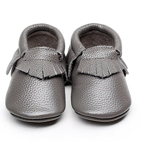 LAROK Leather Baby Moccasins for Boy Girl Infant Toddler Pre-walker Crib Shoes,NBB01,Grey,18-24 Months (Walker Sandals Pre)