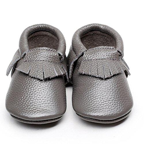 LAROK Leather Baby Moccasins for Boy Girl Infant Toddler Pre-walker Crib Shoes,NBB01,Grey,18-24 Months (Pre Walker Sandals)