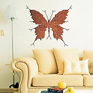 Amazon.com: WWJ 3D butterfly wall crack wall stickers, living room ...