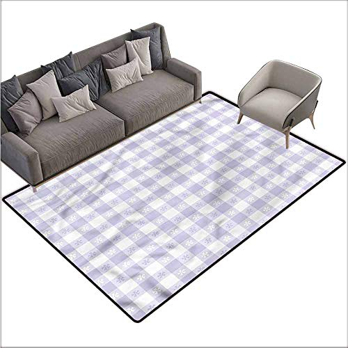 Carpet for Living Room Lavender,Classic Gingham Pattern 48