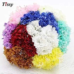 ShineBear 60pcs Silk Artificial Daisy Carnation Flower Bouquet DIY Scrapbooking for Wedding Decoration Craft Fake Flowers 68