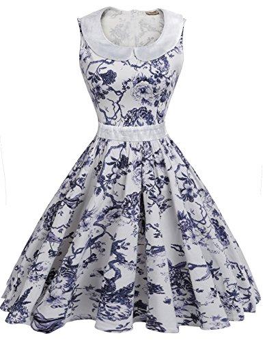 ACEVOG Women's Classy Audrey Hepburn 1950s Vintage Retro Floral Swing Dresses,White,L