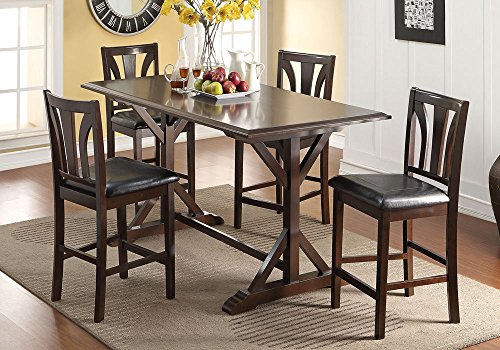 1PerfectChoice Kurtis 5 pcs Counter Height Dining Set Storage Table Top PU Chairs Wood Walnut