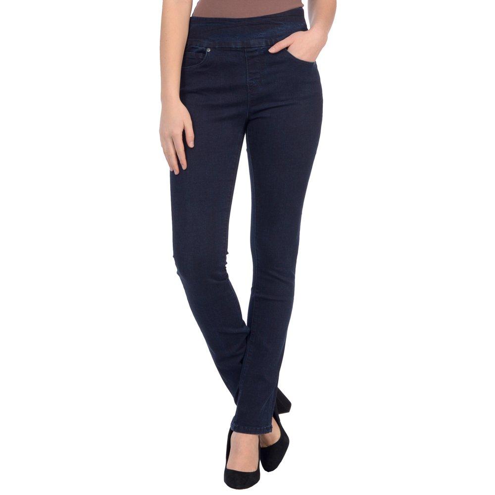 Dark bluee Lola Jeans Women's Rebeccah High Rise Pull on Straight Leg Stretch Denim