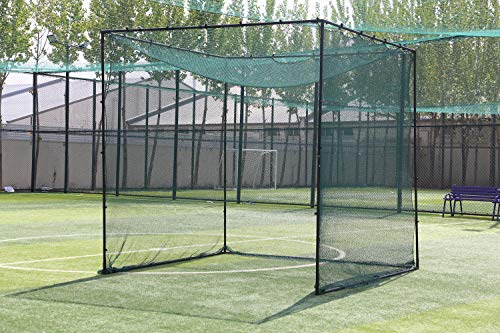 Ascent Sports Deluxe 10' x 10' x 10' Golf Cage Net with Frame Corner Kit and 10'x10' Baffle Net - Poles Not ()