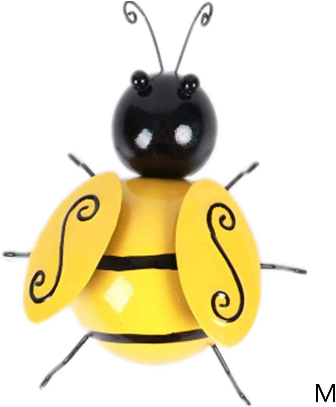 Yellow, 4PC - 2S 1M 1L Garden Accents Yard Fence 3D Iron Art Sculpture Ornaments Bumble Bee Decorations Lawn Bar Bedroom Living Room Coffee Shop Wall Hanging Bumblebee Art Decoration