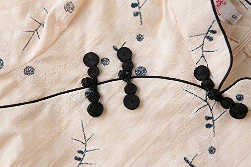 Fleur Coton ACVIP en de Abricot Traditionnel Motif 4 Chanvre Chinois de Femme Tang shirt Veste T 3 Manche Blouse qqZfHxrwv