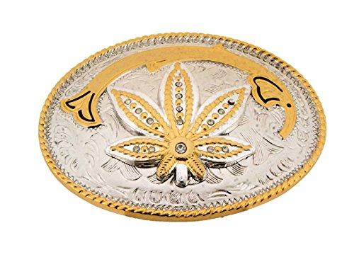 Reggae Marijuana Leaf Weed Belt Buckle Gold Silver Finished.