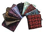 MENDENG Mens 10 Pack Floral Paisley Assorted Silk Pocket Square Handkerchief Set