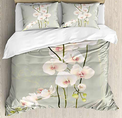 Ambesonne Flower Duvet Cover Set Queen Size, Orchid Flower Floral Nature Country Inspired Design Petals Stencil Artwork, Decorative 3 Piece Bedding Set with 2 Pillow Shams, Grey Pastel (Orchid Pastel Envelope)