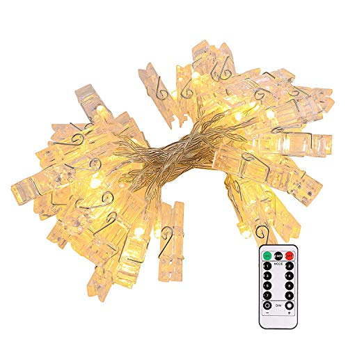 GreenClick 20 Photo Clips String Lights, Ideal Gift Photo Clip Holder Hanging Photos Pictures Cards Memos, Battery Operated 8 Modes Choice Remote, 7.2 Feet, Warm White