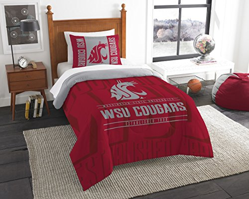 Officially Licensed NCAA Washington State Cougars Modern Take Twin Comforter and (Washington State Comforter)