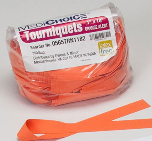 MediChoice Textured Premium Tourniquet, Rolled And Banded, 1 x 18 Inch, Orange, 1314TRN1182 (Case of 1000)