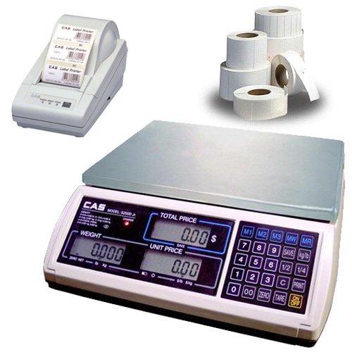 CAS JR-S-2000-30 NTEP Price Computing Scale, 30 x 0.005 lb w/Printer & Case of Labels by CAS
