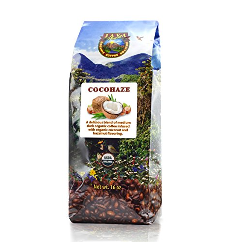 Java Planet - Flavored Coffee Beans, Organic Coffee infused with Organic Coconut and Hazelnut Flavoring, Adequate Trade, Medium Dark Roast, Arabica Gourmet Coffee Grade A, packaged in 1 LB bag