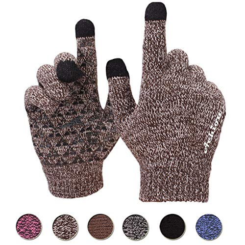 Achiou Touchscreen Winter Warm Gloves for Women Men Knit Wool Lined Texting (Coffee White)