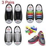 3 Pairs Lazy No Tie Silicone Shoelace, Oumers Rubber Elastic Slip Sneaker Shoe Laces Running Shoelaces Athletic Shoe laces 12pc/pair, 1 pair Black + 1 pair White + 1 pair multi color (For Kids)