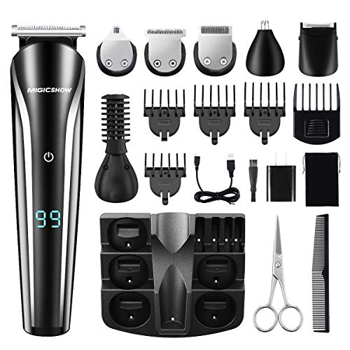 MIGICSHOW Beard Trimmer Kit For Men Cordless Hair Clippers Multi-functional Trimmer 6 in 1 Groomer Kit for Nose Ear Facial Hair Precision Body Trimmer USB Rechargeable with LED Display