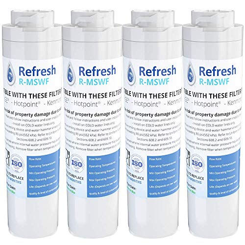Refresh Replacement Refrigerator Water Filter for GE MSWF, Tier1 RWF1062, Aquafresh WF282, Arrowpure APF-1800, AQUACREST AQF-MSWF and IcePure RWF1500A (4 Pack)
