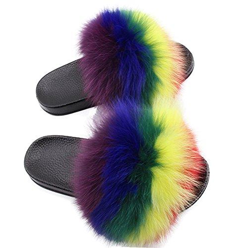 Yu Li Women Real Fox Fur Feather Vegan Leather Open Toe Single Strap Slip On Sandal Color 5 41