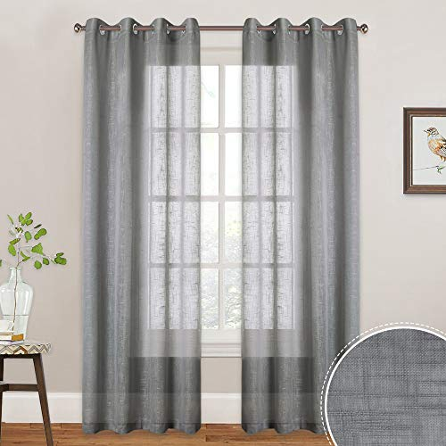 RYB HOME Light & Airy Sheer Window Curtains for Bedroom, Faux Linen Textured Fabric Country Rustic Farmhouse Curtains for Indoor Decor, 52 inches Width x 84 inches Length, 2 Pcs, ()