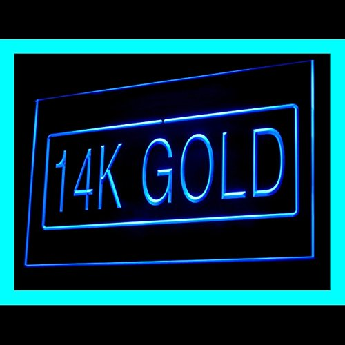 Handcrafted Ring 14k (14K Gold Handcrafted Rings Necklace Pendant Jewellery LED Light Sign 200088 Color Blue)