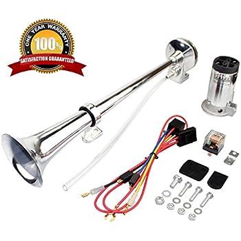 amazon com audew 12v air horns chrome dual trumpet 150db