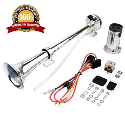 GAMPRO 12V 150db Air Horn, 18 Inches Chrome Zinc Single Trumpet Truck Air Horn with Compressor for Any 12V Vehicles Trucks Lorrys Trains Boats Cars (Air Horn Relay)