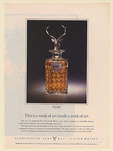 1992 Glenfiddich Pure Malt Scotch Whisky Stag's Head Decanter $3,000 Print Ad (69035)