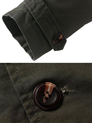 Wantdo Men's Collar Single Army Turn Green Jacket Breasted Down Cotton Windbreaker g1dwqrxg