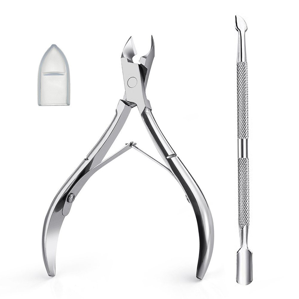 Cuticle Nipper, TASIPA Cuticle Cutter and Remover with Cuticle Pusher for Dead Skin, Stainless Steel Nail Cuticle Clippers