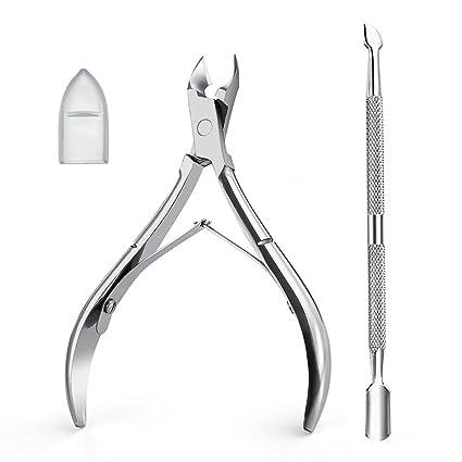 TASIPA Alicate para cutículas, cortador y removedor de cutículas con empujador de cutículas para pieles