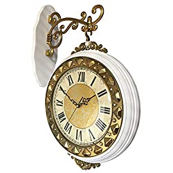 Wall Clocks Clocks Double-Sided Wood Double-Sided Mute Double-Sided Clock European-Style Vintage Antique Garden White Mantel Clocks (Color : White, Size : 3454cm)
