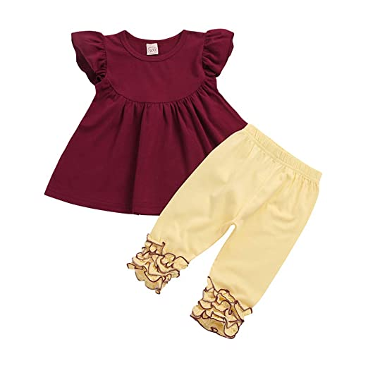 b0fc079b5d0 Dirance 2PC Cute Girl Child Solid Color Ruffled T-Shirt Long Pants Spring  and Summer