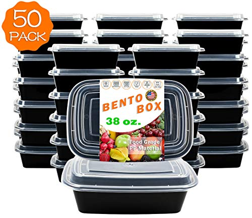 50-Pack [38 oz] 1-Compartment Food Container - Rectangular Meal Prep Bento with Lid - Portable Lunch Box - Stackable - BPA Free - Freezer/Microwave/Dishwasher Safe - Reusable Storage - USA Made]()