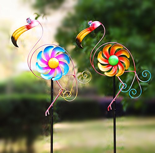 "CEDAR HOME Wind Spinner Sculpture Garden Stake Outdoor Cute Metal Stick Art Ornament Figurine Decor for Lawn Yard Patio, 10.75"" W x 2.25"" D x 49.5"" H, 2 Set, Flamingo"