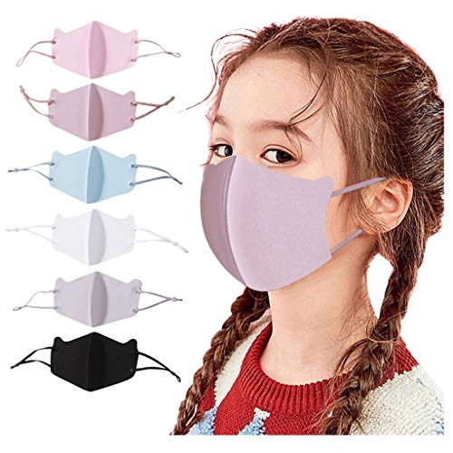 TBNOONE Kids Face Covering Washable Cotton Face Bandana a Set of 6 Solid Colors