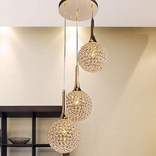 - PST European style 3 crystal chandelier luxury living room bedroom restaurant hanging lights hotel gold candle ceiling lamps [energy class A ++]