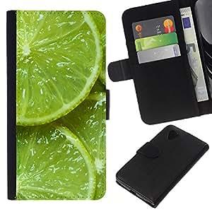 For LG Nexus 5 D820 D821 Case , Green Citrus Fruit Nature Vibrant - la tarjeta de Crédito Slots PU Funda de cuero Monedero caso cubierta de piel