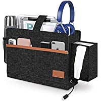 Bedside Caddy , Bed Pockets, T Tersely Bed Organiser Pocket Felt Hanging Storage Bag with Tissue Box and Water Bottle…