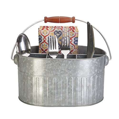 Panacea 83243 Silverware & Planter Caddy Bucket Garden Accessories, 11 in. x 7 in. x 9.5 in, Vintage Galvanized by Panacea