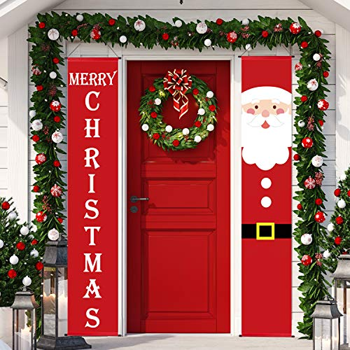 Christmas Porch Sign, Santa and Merry Christmas Welcome Sign Hanging Banner for Holiday Home Indoor Outdoor Front Door Porch Yard Wall Christmas Decorations (Christmas)