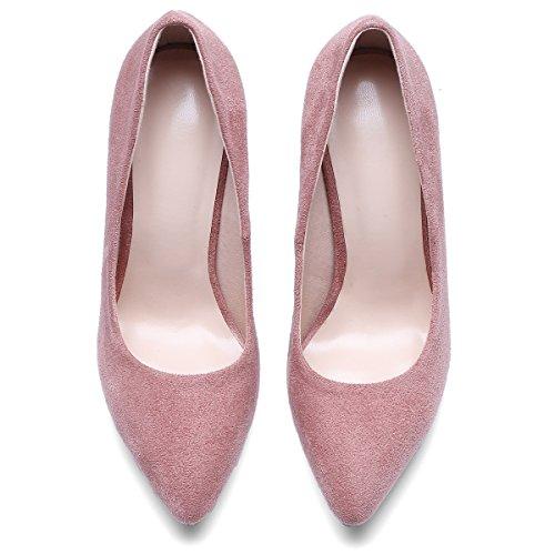 JIEEME Ladies Fashion Stiletto Pointed Toe Black Red High Heels Party Women Court Pink zW8pfZs