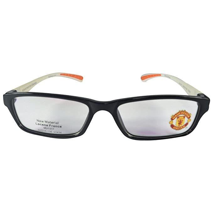d21e11be7 Manchester United MUFC Full Rim Rectangular Unisex Spectacle Frames-Black  and yellow  Amazon.in  Clothing   Accessories