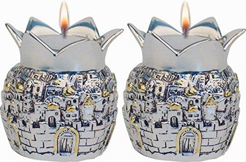 Pomegranate Candlesticks - Silver Plated Shabbat Candles Holders Pomegranates Candlesticks Jerusalem Design Set Of 2 Judaica Gift