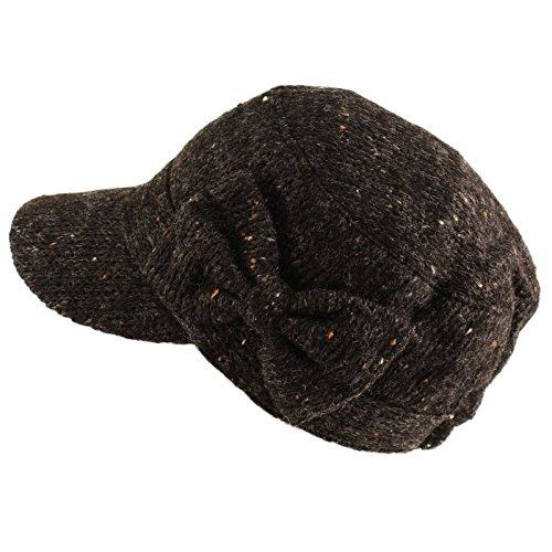 SK Hat shop Ladies Cute Bow Space Dye Speckled Knit Cadet Castro GI Visor Cap Hat Black