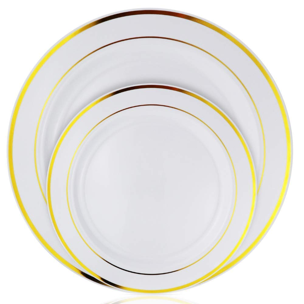 Stately Elegance Designs 200 Piece White and Gold Rimmed Plastic Plate Set - Includes 100 10.25'' Dinner Plates and 100 7.5'' Salad Plates - Heavy Duty Durable Disposable Dinnerware Set